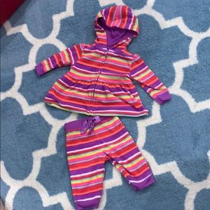 Fleece baby girl matching zip up hoodie and pants